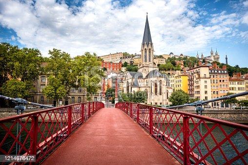 istock Lyon, Eglise Saint George seen from the Passerelle St. George (Walkways). France. 1214676472