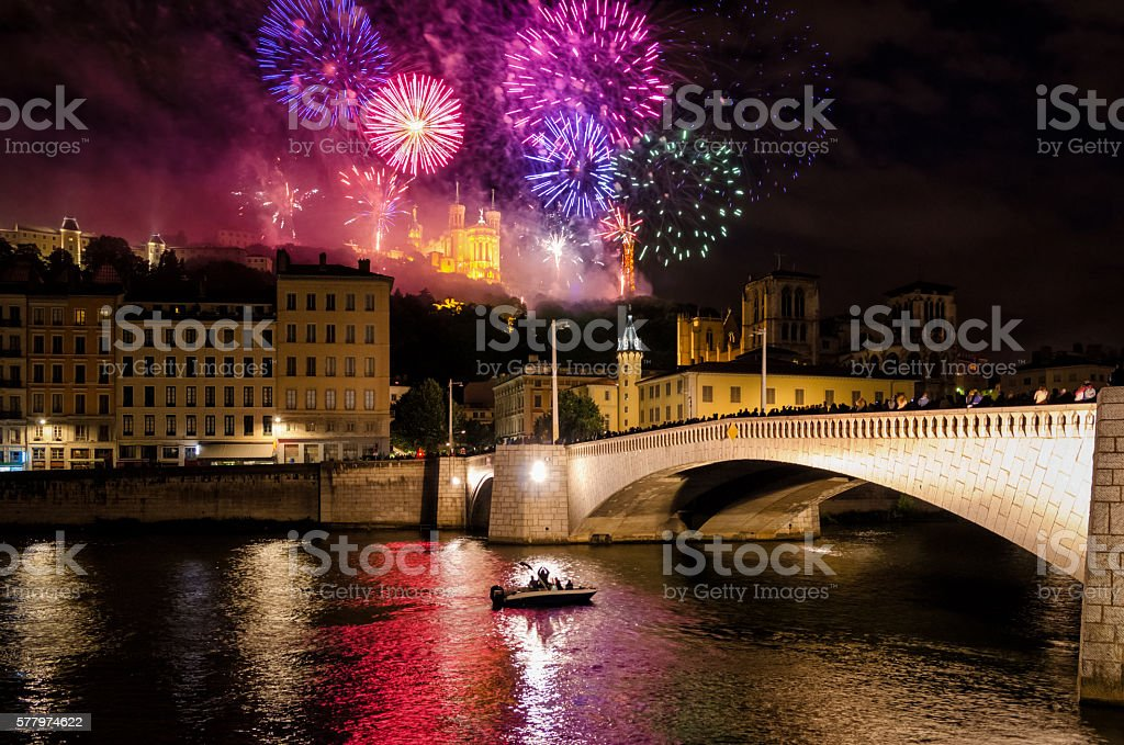 Lyon (France) fireworks for the National Holiday (14 July 2016) stock photo