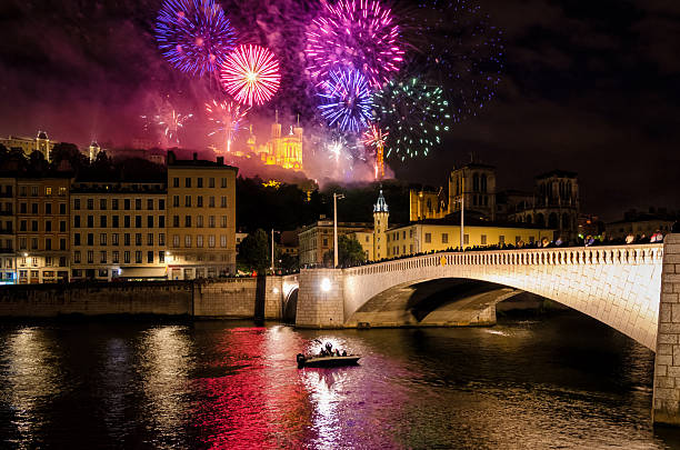 Lyon (France) fireworks for the National Holiday (14 July 2016) - Photo