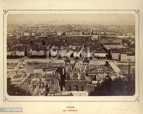 Vintage photograph of a view of Lyon, France, 1880s, 19th Century with Lyon Cathedral in the foreground
