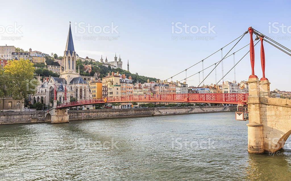 Lyon, France - Vieux District, Saone River, Saint-Georges Church, Fourviere stock photo