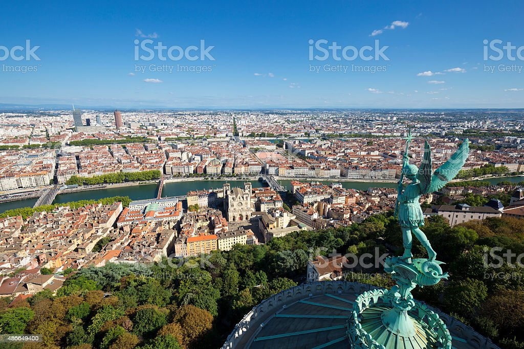 Lyon from the top of Notre Dame de Fourviere stock photo