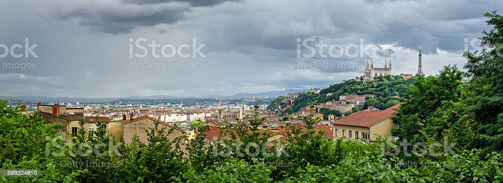 Lyon (France) high definition panorama with Notre-Dame de Fourviere stock photo
