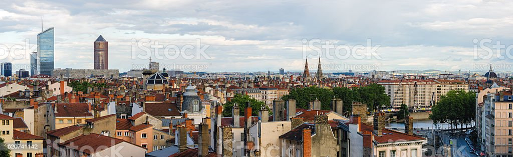 Lyon (France) high definition scenic panorama stock photo