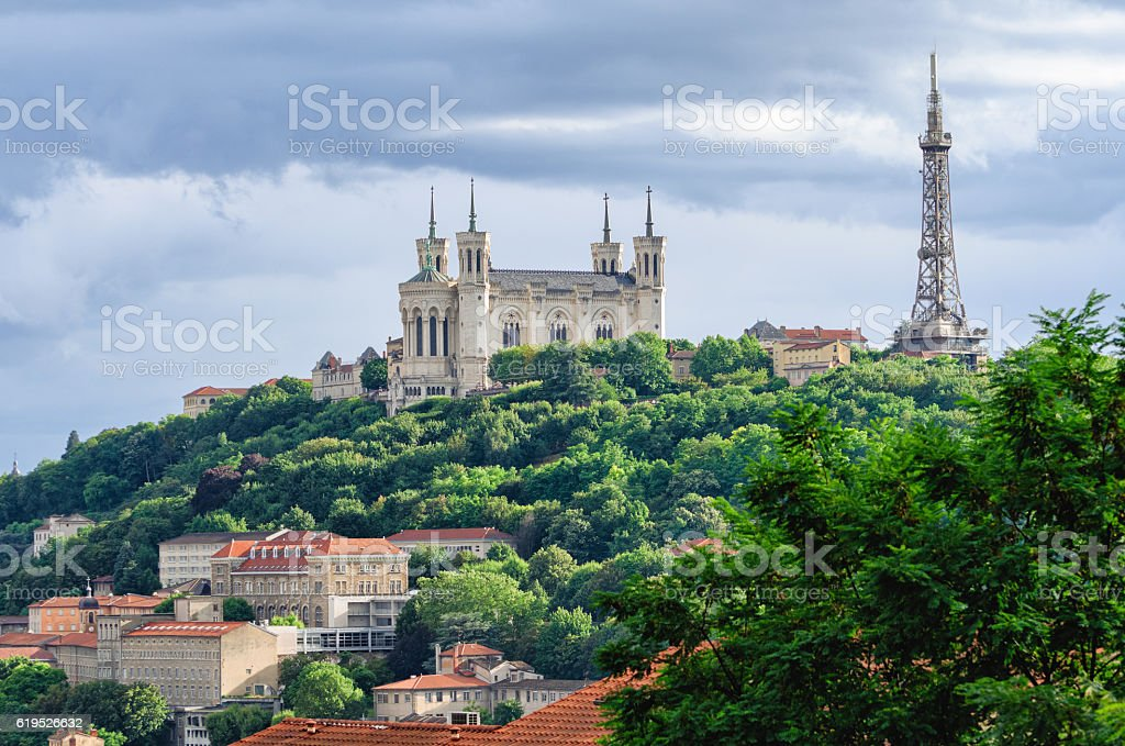 Lyon (France) Notre-Dame de Fourviere and metallic tower - Photo