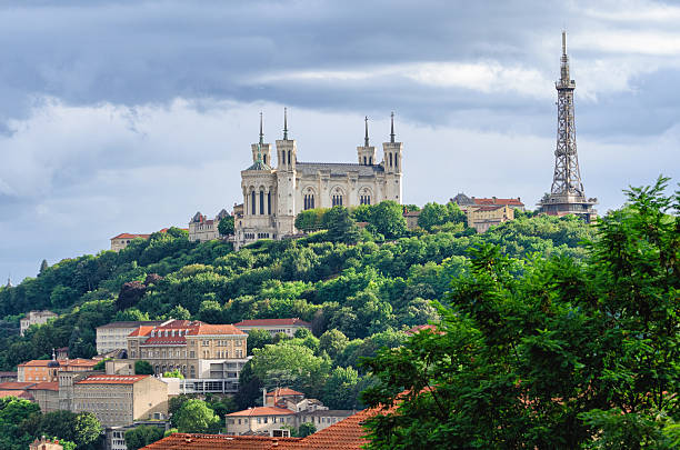 Lyon (France) Notre-Dame de Fourviere and metallic tower - Photo