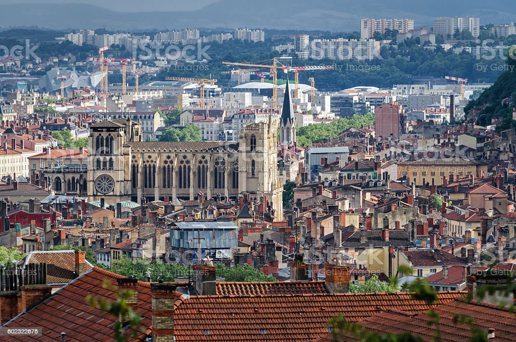 Lyon panoramic view with Cathedrale Saint Jean Baptiste stock photo