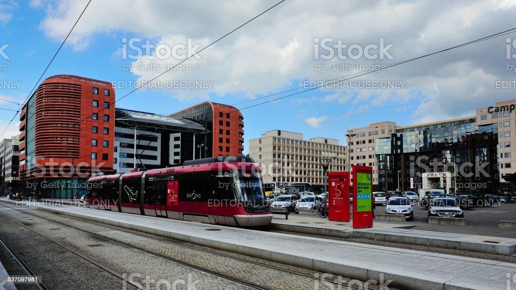 Lyon street-streetcar stock photo