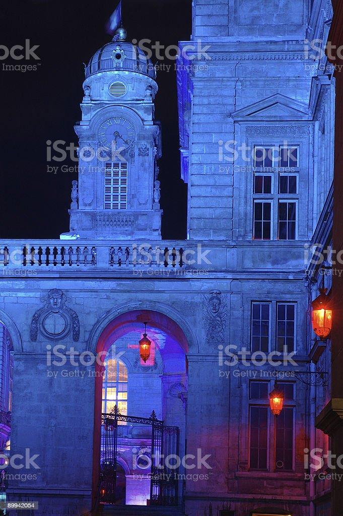 Lyon Town Hall  at night royalty-free stock photo