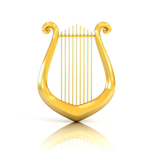 lyre 3d illustration isolated on white - harpist stock photos and pictures