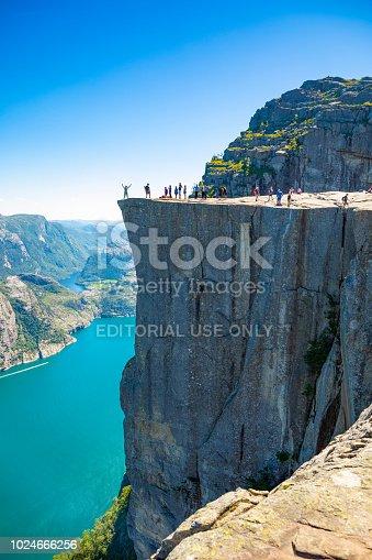 Preikestolen, Norway -  June 29, 2018:  Lysefjord and Preikestolen cliff in summer day in Norway
