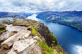 Summer, Norway, Cliff, Europe, Lysefjorden