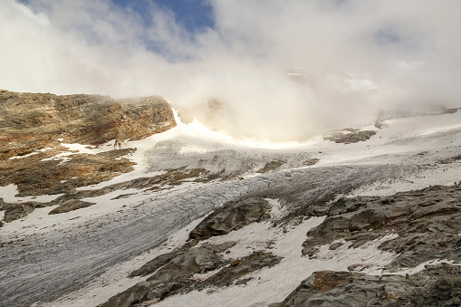 Lyskamm glacier from Indren Peak on the Monte Rosa massif