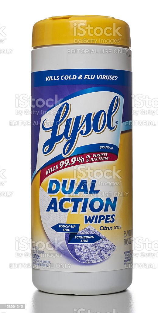 Lysol Dual Action Wipes with Citrus Scent stock photo