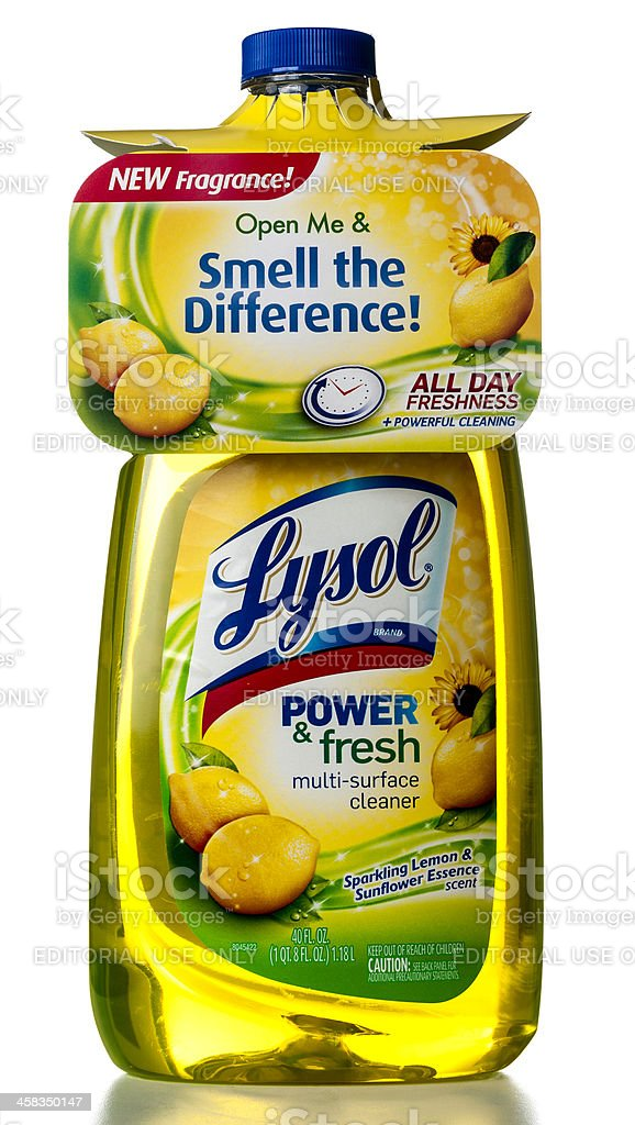 Lysol power & fresh multi-surface cleaner bottle stock photo
