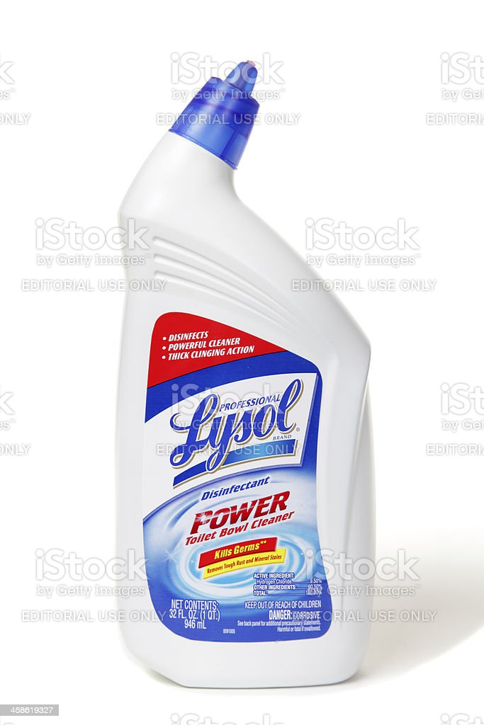 Lysol Toilet Cleaner On White stock photo