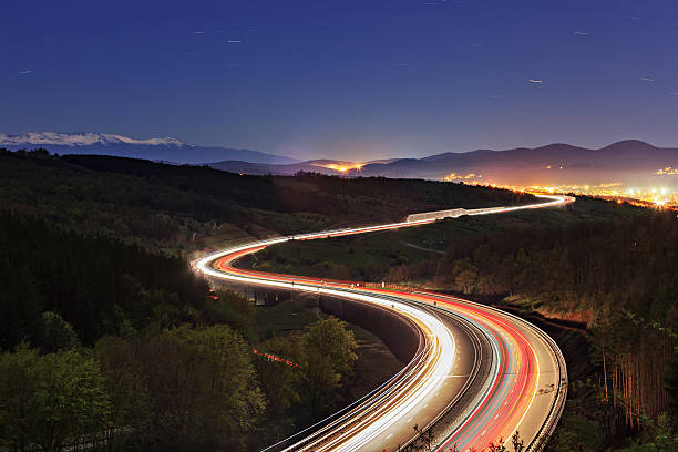 lyulin highway - long exposure stock pictures, royalty-free photos & images