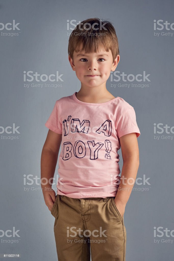 I'm a boy who's proud to wear pink stock photo
