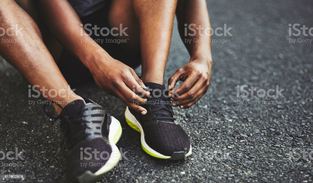 I'm all tied up with exercising today stock photo