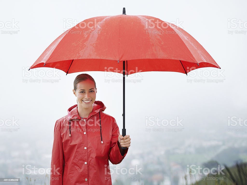 I'm covered no matter what! stock photo