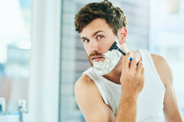 i'm going for a clean shave - shaving cream stock pictures, royalty-free photos & images