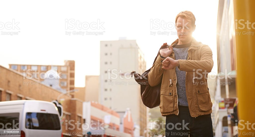 I'm going to be late... stock photo