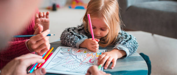 i'm gonna try to colour all by my self! - colouring book stock photos and pictures