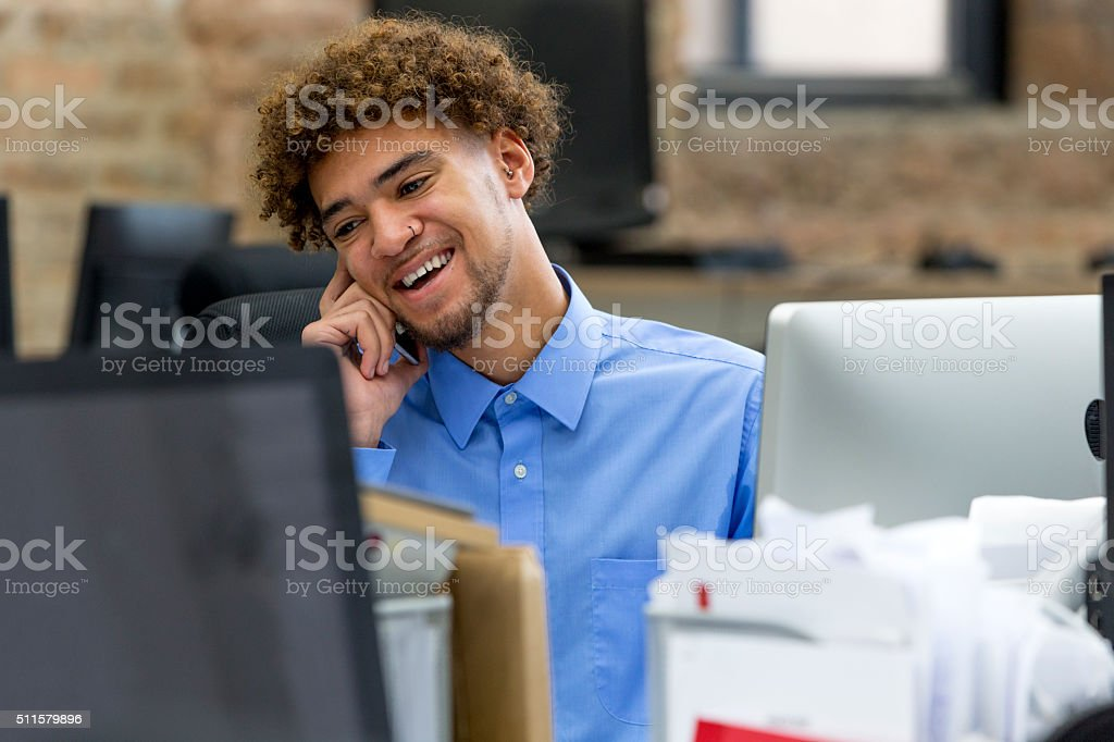 'I'm happy business is going well.' stock photo