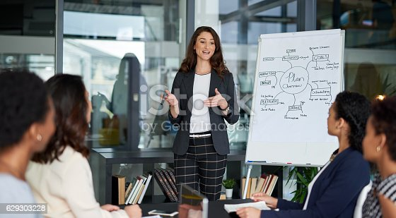 Shot of an attractive young businesswoman giving a presentation in the boardroom