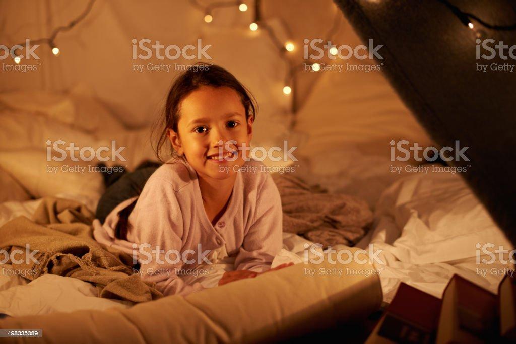 I'm having my own sleepover! stock photo
