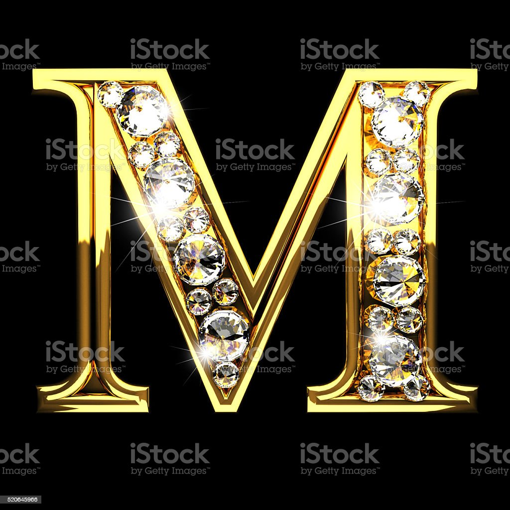 M Isolated Golden Letters With Diamonds On Black Royalty Free Stock Photo