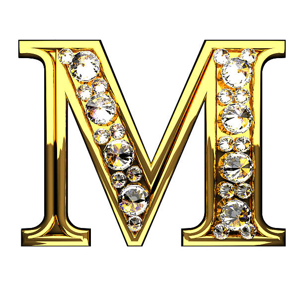 m isolated golden letters with diamonds on white stock photo