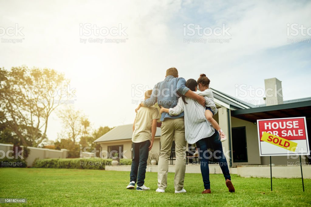 I'm moving my family into our dream home stock photo