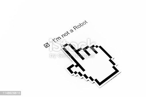 istock I'm not a robot - checkbox with a check mark on white paper. Checklist concept 1148626815