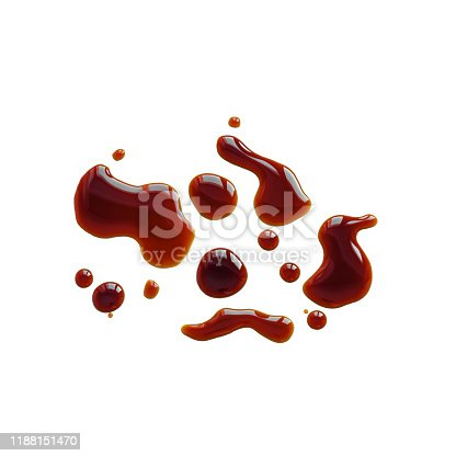 Spilled Soy Souse, Teriyaki Sauce, Oyster Sauce or Balsamic Vinegar Puddles on isolated white background, top view.