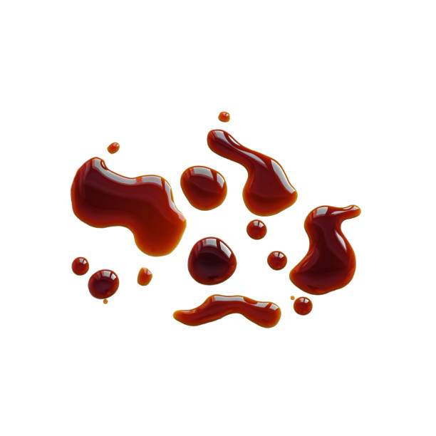 I'm Souse Spilled Soy Souse, Teriyaki Sauce, Oyster Sauce or Balsamic Vinegar Puddles on isolated white background, top view. balsamic vinegar stock pictures, royalty-free photos & images