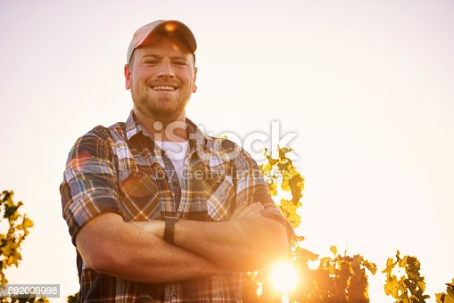 Portrait of a happy farmer posing with his arms crossed in a vineyard