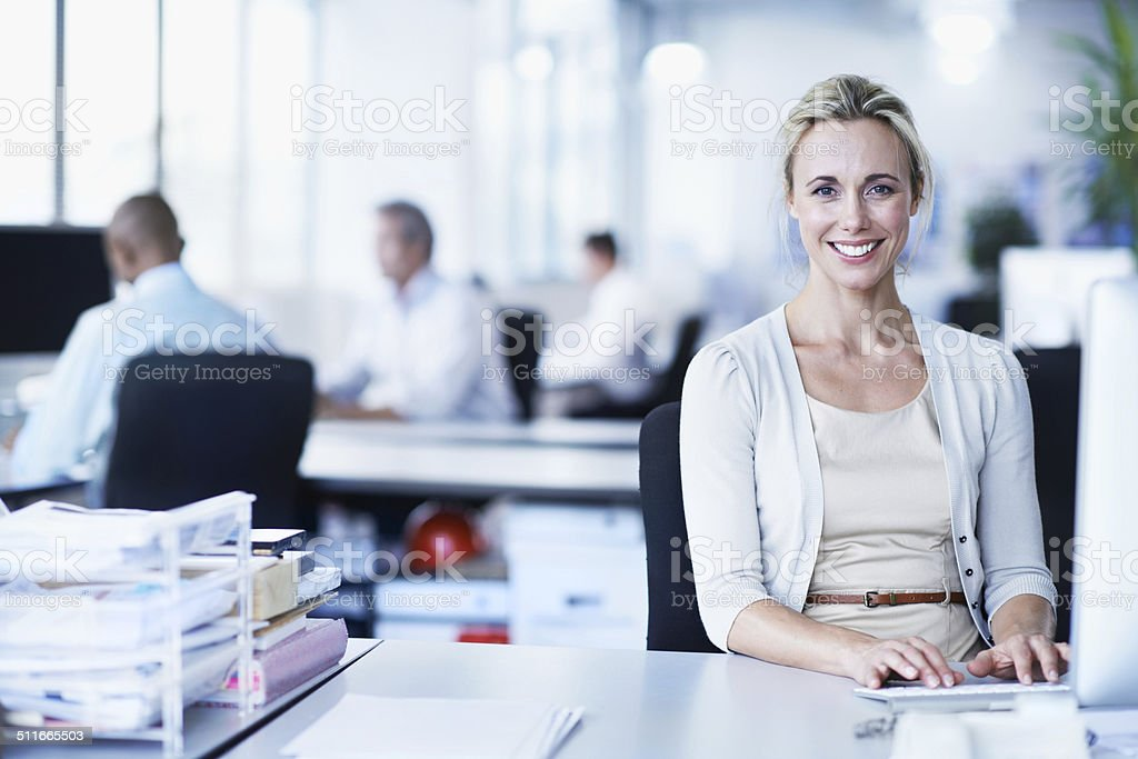 I'm totally dedicated to my job stock photo