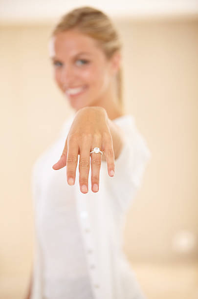 i'm tying the knot - diamond ring hand stock photos and pictures