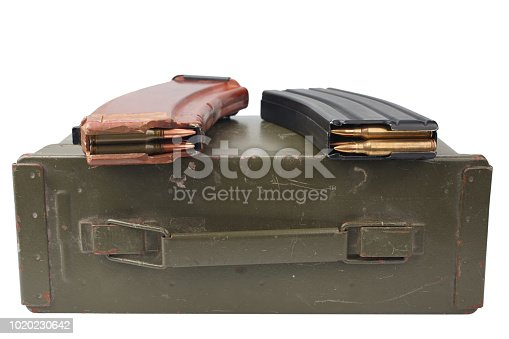 istock m16 and ak47 magazines on ammunition can 1020230642