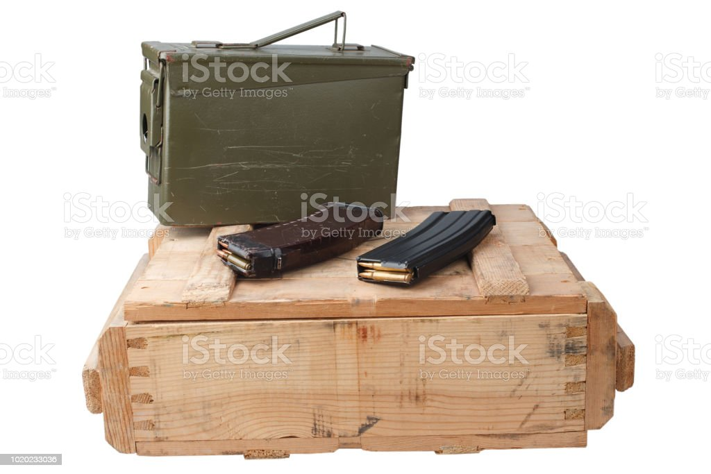 M16 And Ak47 Magazines On Wooden Box Stock Photo - Download