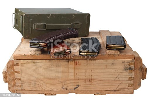 istock m16 and ak47 magazines on wooden box 1020233152