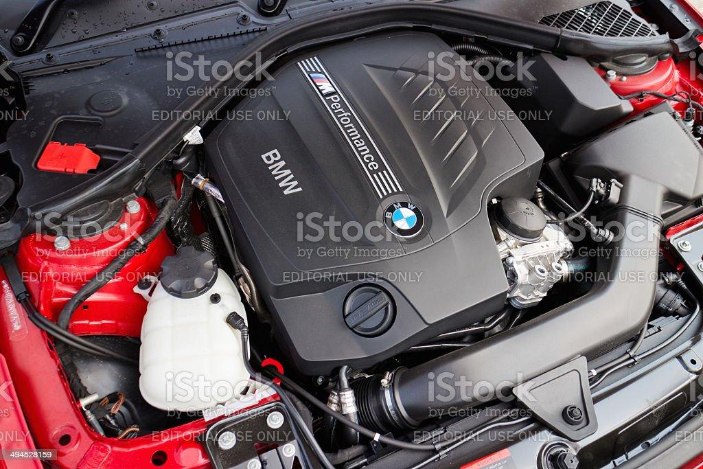 BMW M235i Engine on May 15 2014 in Hong Kong. Hong Kong, China - May 15, 2014 : BMW M235i Engine on May 15 2014 in Hong Kong. BMW Stock Photo