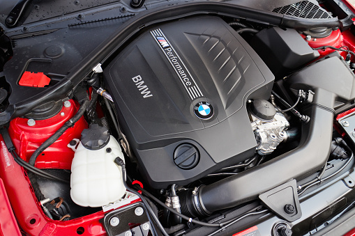 Bmw M235i Engine On May 15 2014 In Hong Kong Stock Photo - Download Image Now