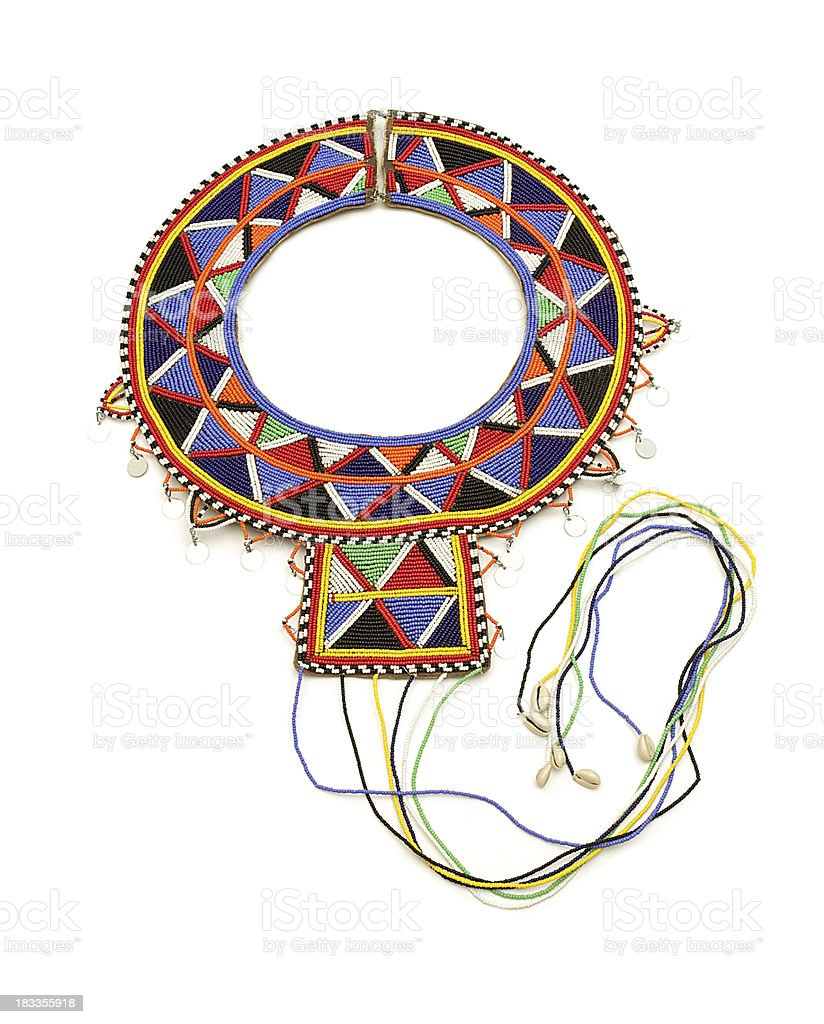 Maasai beadwork wedding necklace on white background. stock photo