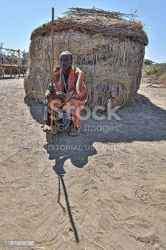Ngorongoro, Tanzania - July 5, 2019: Maasai man in the village near Ngorongoro Crater, in Ngorongoro, Tanzania