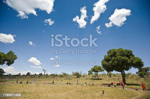 Maasai Mara, Kenya | October 18, 2007: Maasai people trading their arts and crafts to tourists, Kenya, East Africa