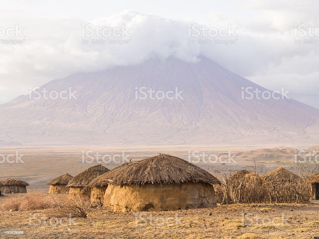 Maasai vilage in Africa stock photo