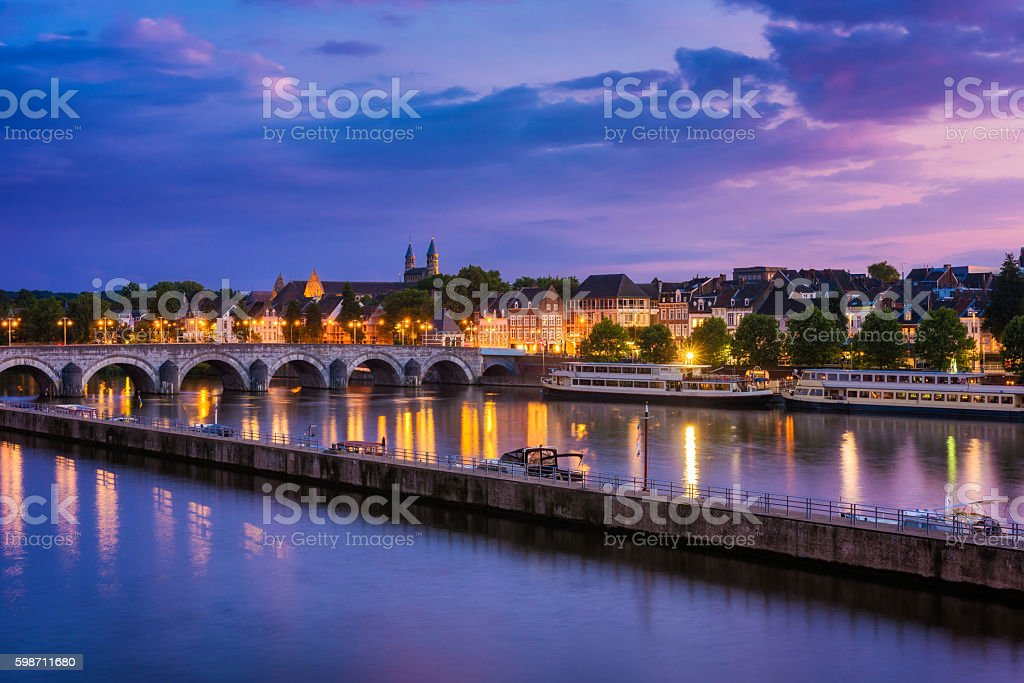 Maastricht and Maas River around sunset stock photo