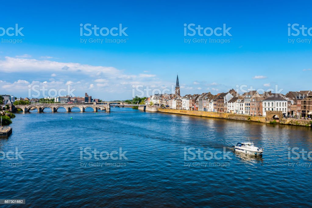 Maastricht Netherlands and Maas River stock photo
